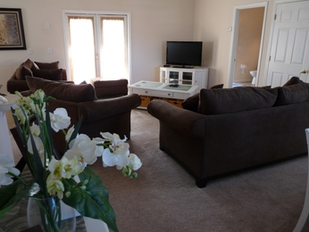 Lounge with Large Screen HD LCD TV, Digital Cable and HD DVD